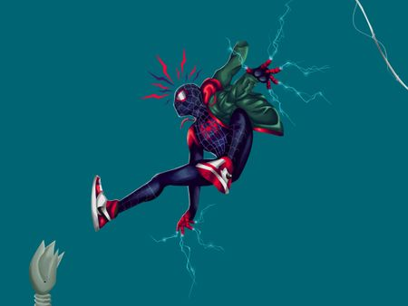 Ultimate Spiderman Miles Morales from into the spiderverse movie