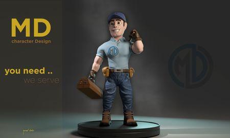 worker cartoonish character