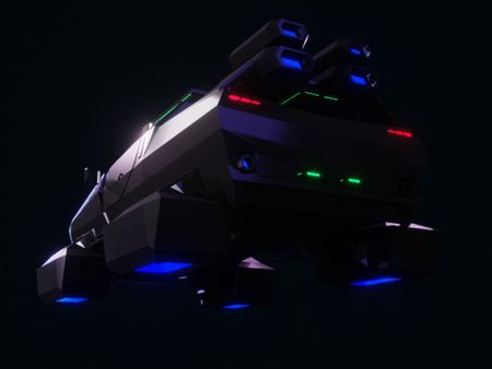 Armored Hover Truck  (Low poly / Cyberpunk)