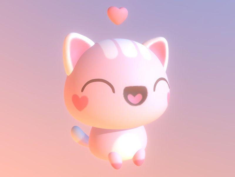 Cute Pink Cat Model